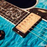 Gibson Custom Shop Custom Crimson Les Paul Bella Voce Quilt Maple Top Engraved Neck Heel Aqua Blue Built by Bruce J.Kunkel